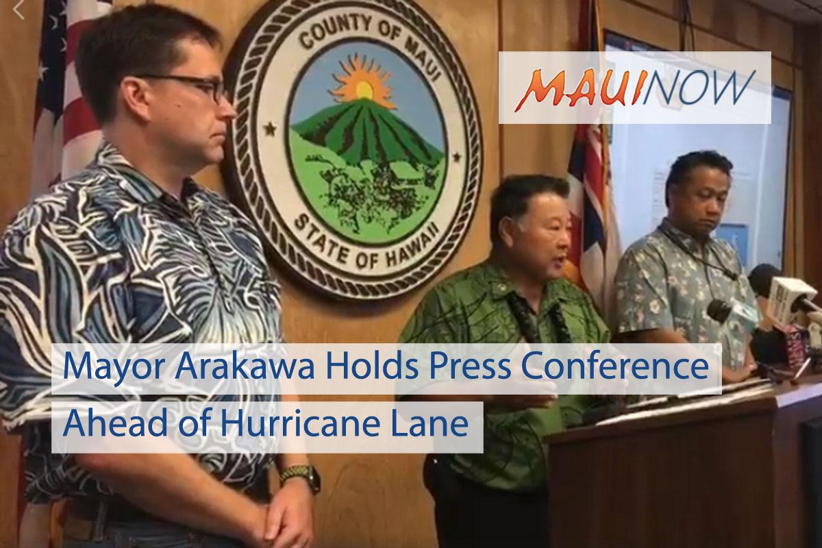 Mayor Arakawa Holds Press Conference Ahead of Hurricane Lane