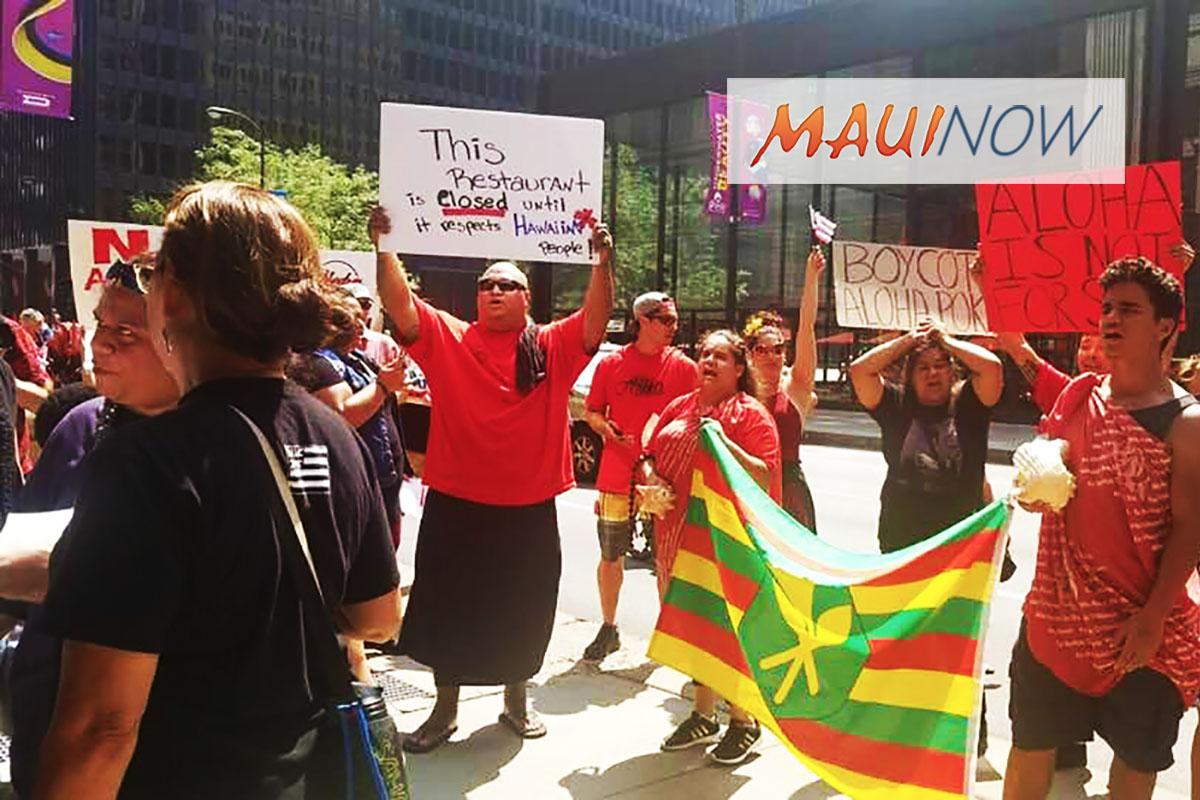 Hundreds Join in Demonstration Against Aloha Poke Company
