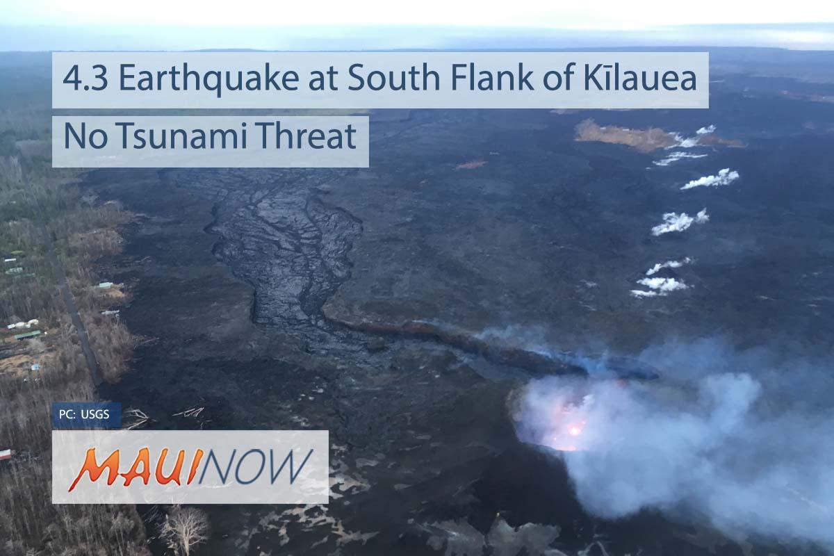 4.3 Earthquake at South Flank of Kīlauea, No Tsunami