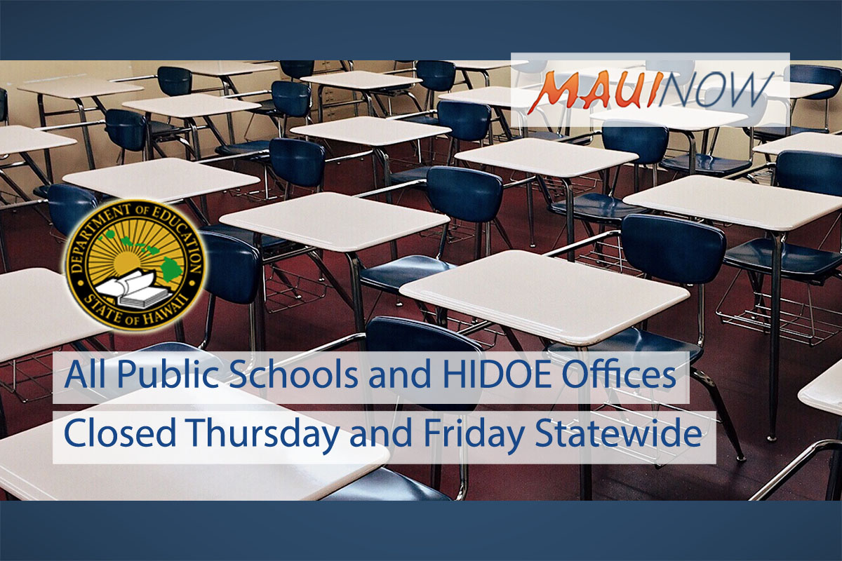 All Public Schools and HIDOE Offices to Close Thursday and Friday Statewide