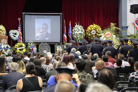 Thousands Attend Service for Fallen Officer Kaliloa