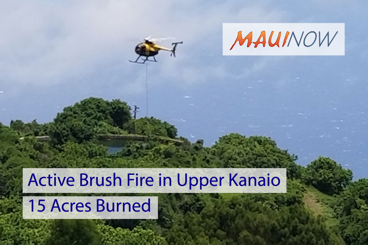 Active Brush Fire in Upper Kanaio, 15 Acres Burned