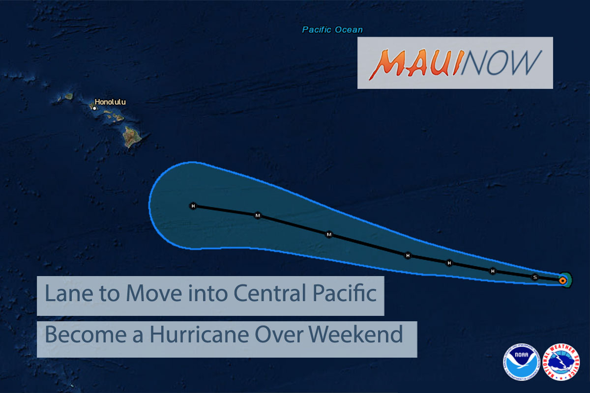 Tropical Storm Lane to Move into Central Pacific as a Hurricane Over Weekend