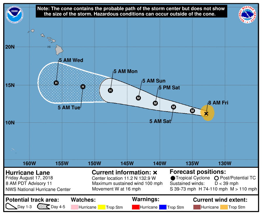 Hurricane Lane expected to pass south of Hawaii