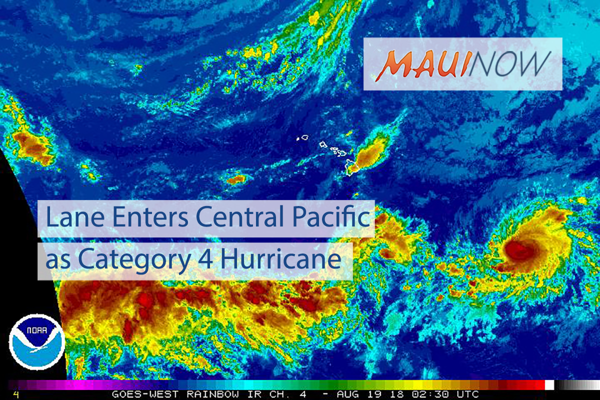 Lane Enters Central Pacific as Category 4 Hurricane