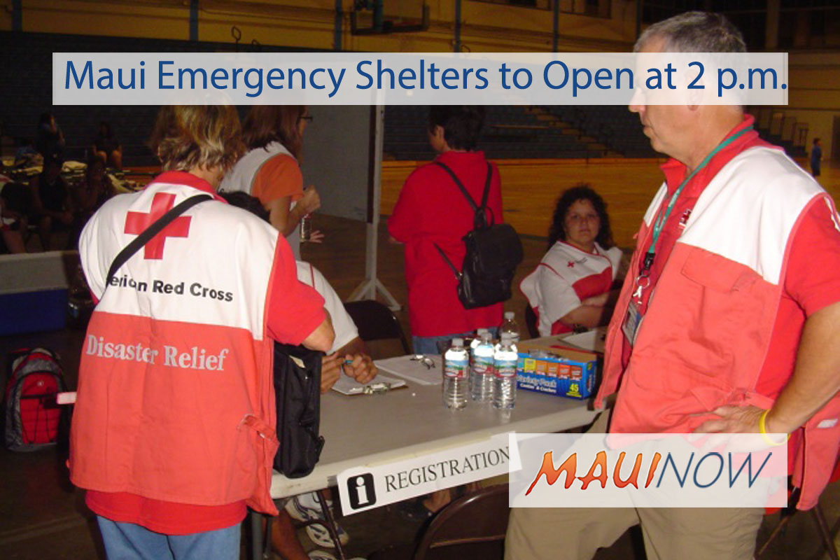Maui Emergency Shelters to Open at 2 p.m.