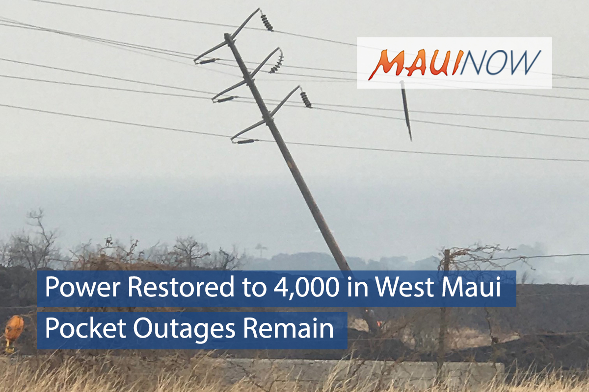 Power Restored to 4,000 West Maui Customers