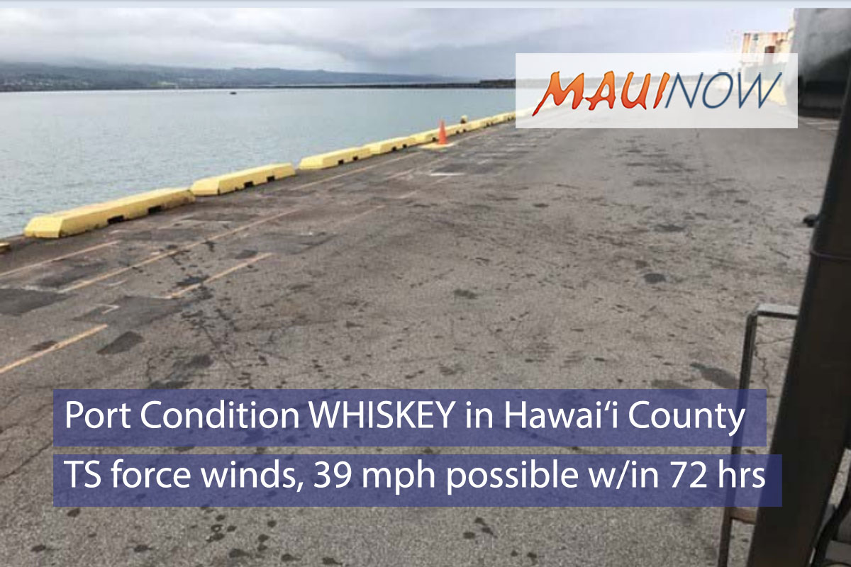 Coast Guard Sets Port Condition WHISKEY for Hawai'i County