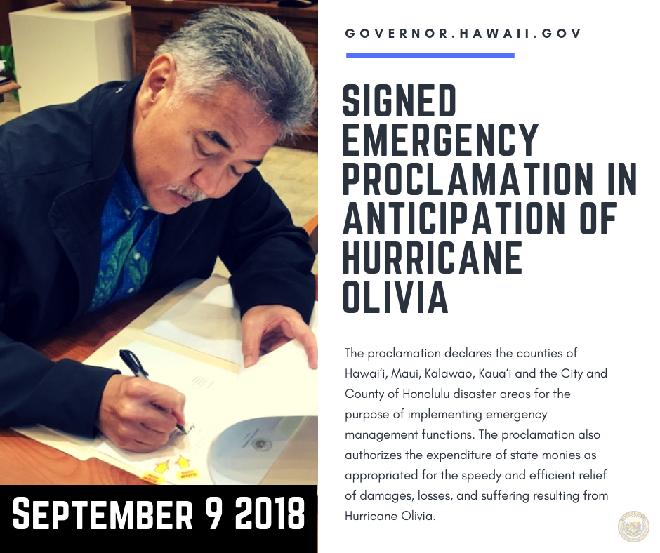 Gov. Ige Signs Emergency Proclamation Ahead of Hurricane Olivia