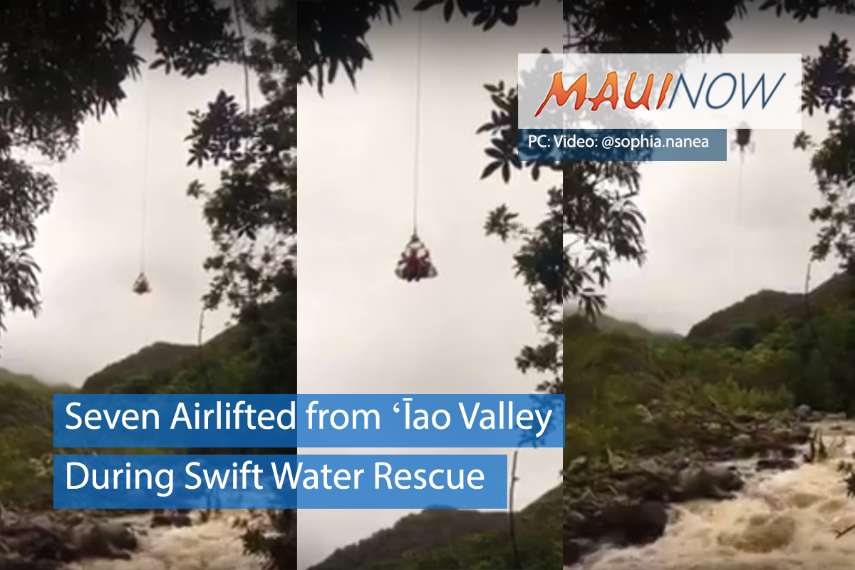 Seven Airlifted from ʻĪao During Swift Water Rescue