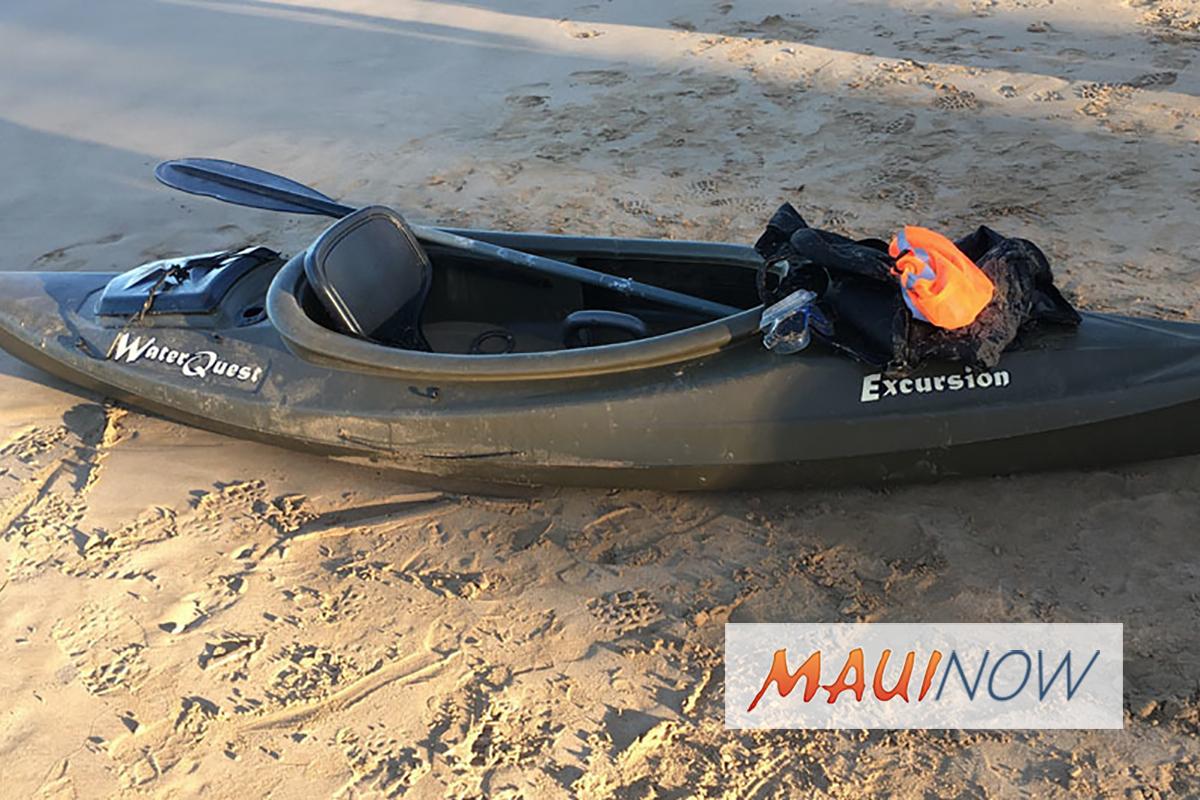 Kayak Found Adrift Near Kama'ole I, Maui