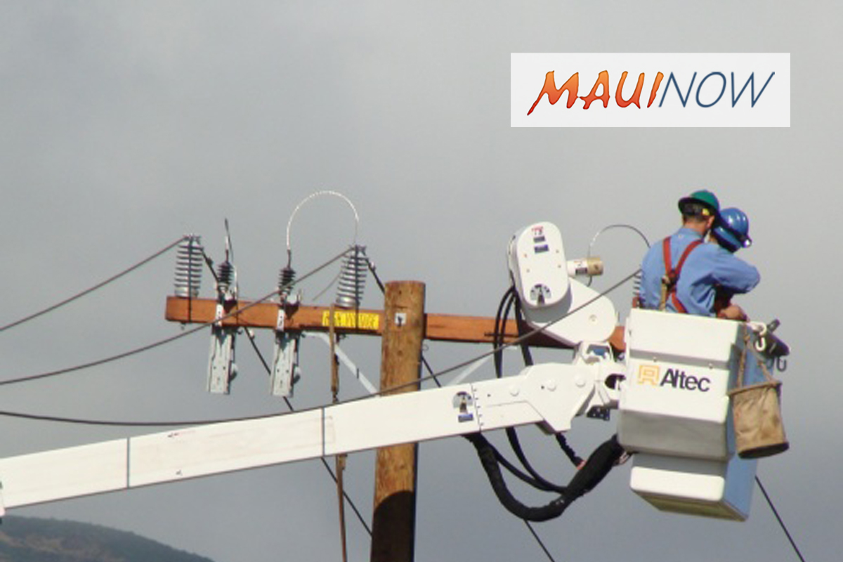 Maui Electric Work on Wākea Avenue on April 26, May 3