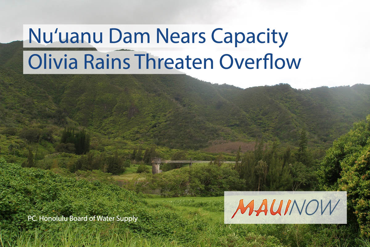 O'AHU: Spillway at Nu'uanu Dam Nears Capacity From Olivia Rains