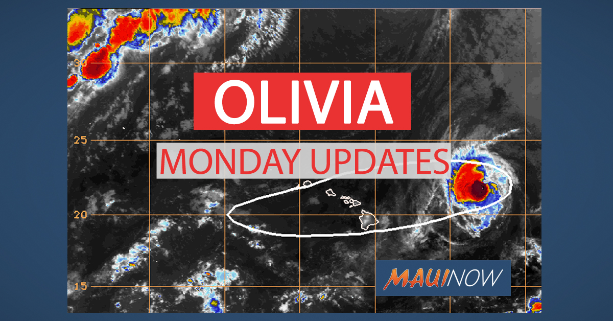 Olivia Monday Updates: Maui Under Tropical Storm Warning