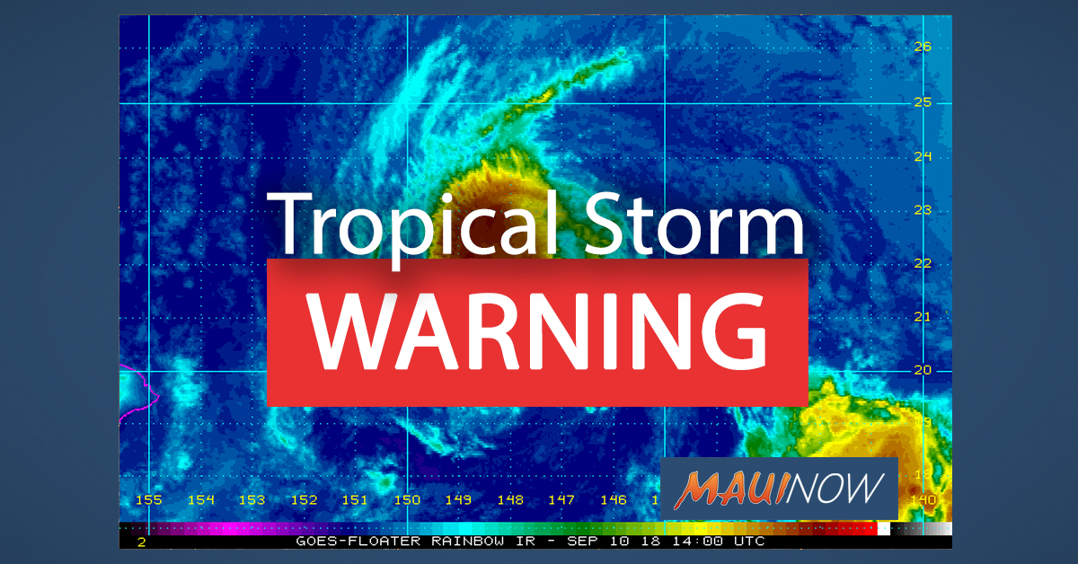Tropical Storm Warning Issued for Maui, Hawaiʻi Counties