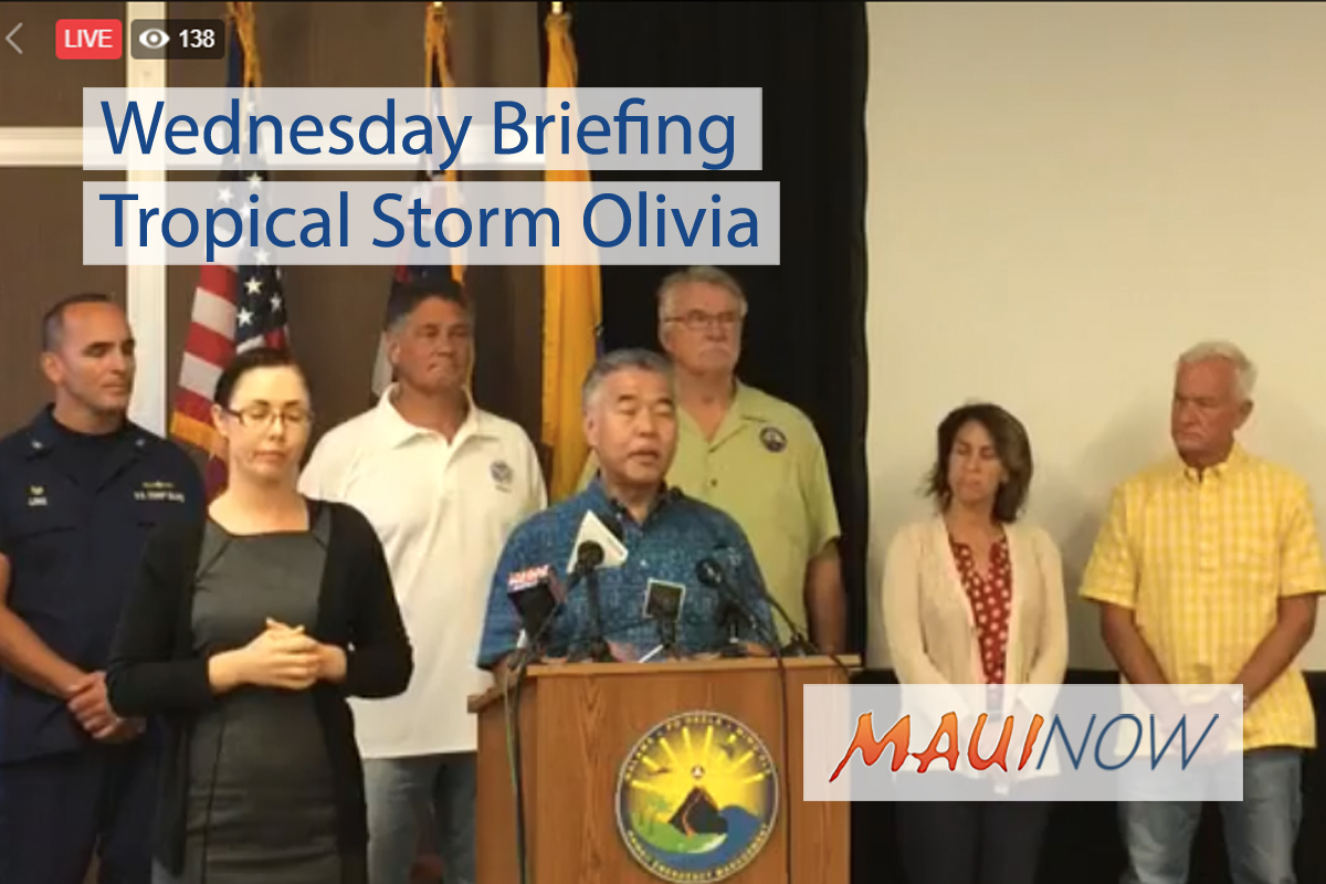 Wednesday Briefing on Tropical Storm Olivia