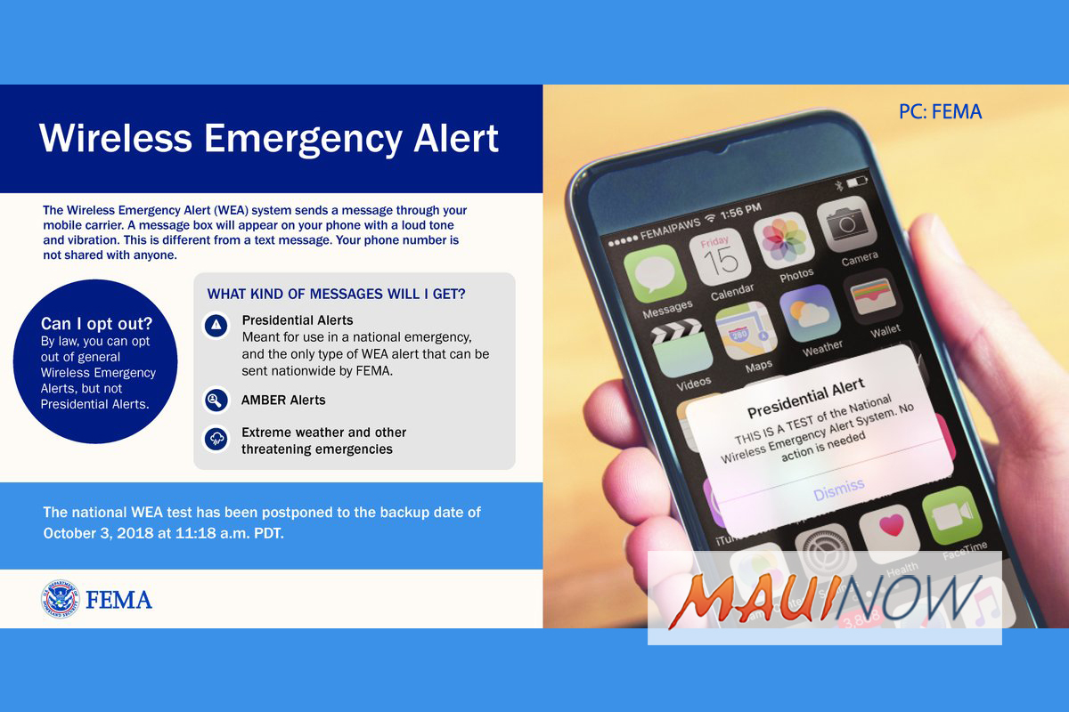 REMINDER: (8:18 a.m. HST Oct. 3, 2018) Nationwide Wireless Emergency Alert Test