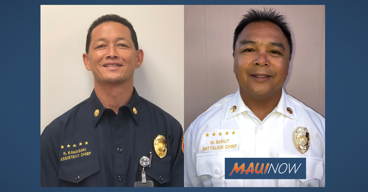 Maui Fire Department Announces Chief Promotions