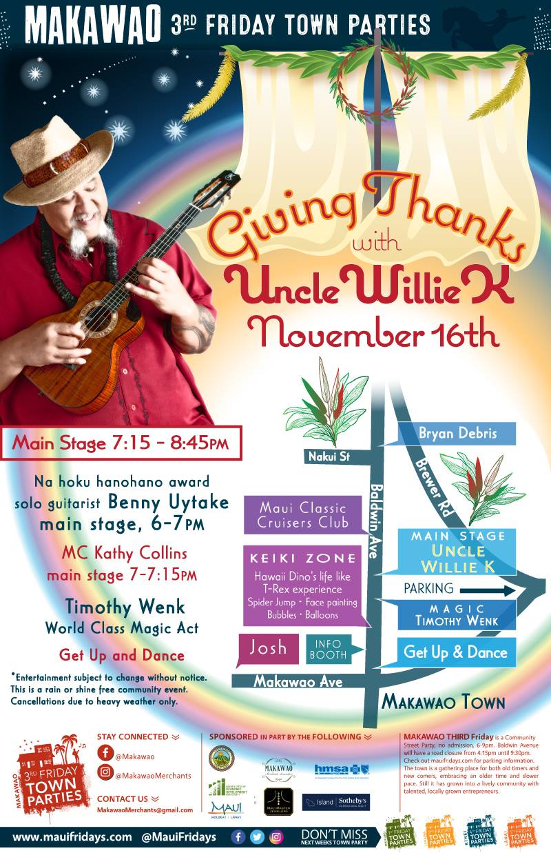 Uncle Willie K to Perform at Makawao Third Friday