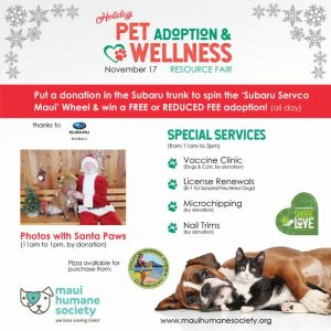 Maui Humane Society Holiday Adoption & Wellness Fair