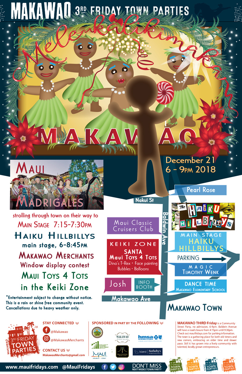 Mele Kalikimaka Makawao 3rd Friday Town Party