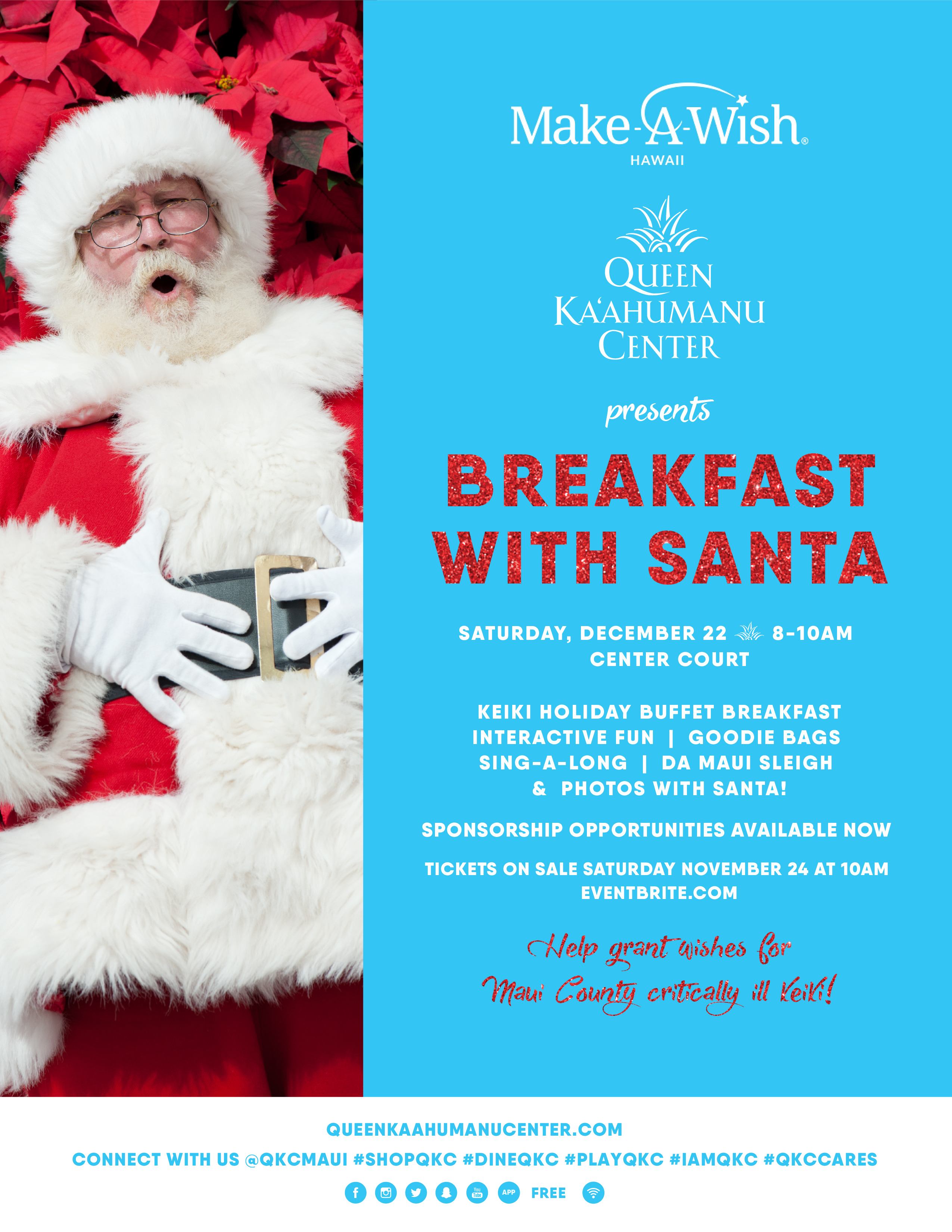 QKC Hosts Make-A-Wish Hawaiʻi Breakfast with Santa 2018
