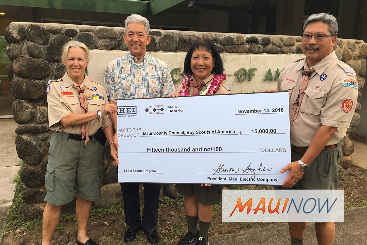 Maui Electric Makes Donation to Boy Scouts STEM Program