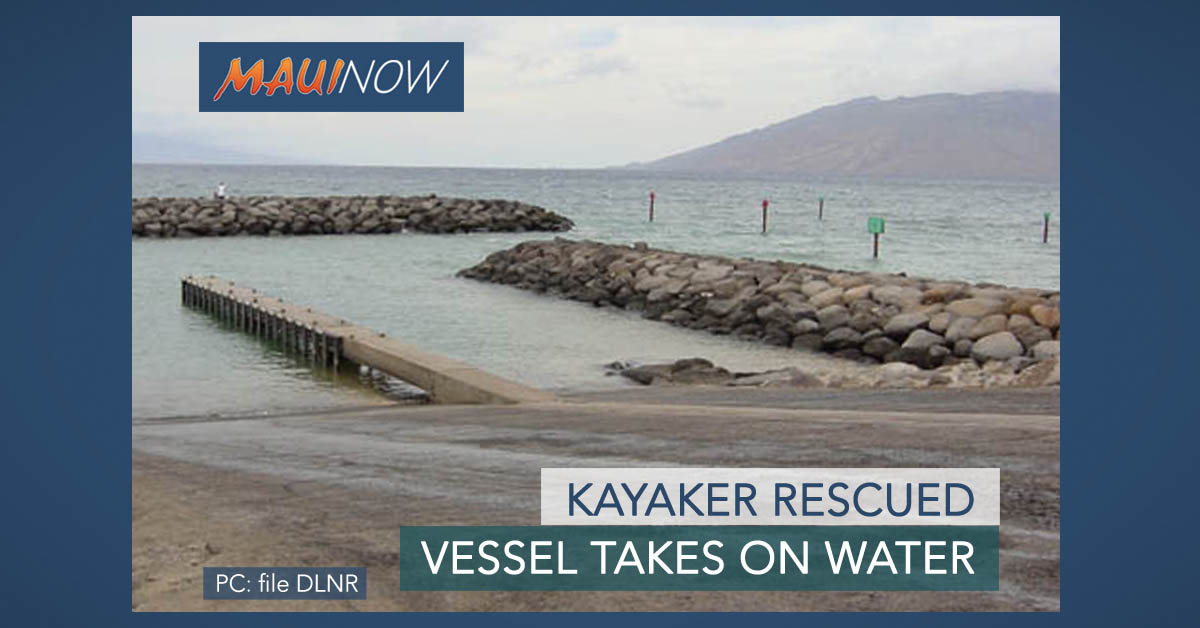Kayaker Rescued After Vessel Takes on Water