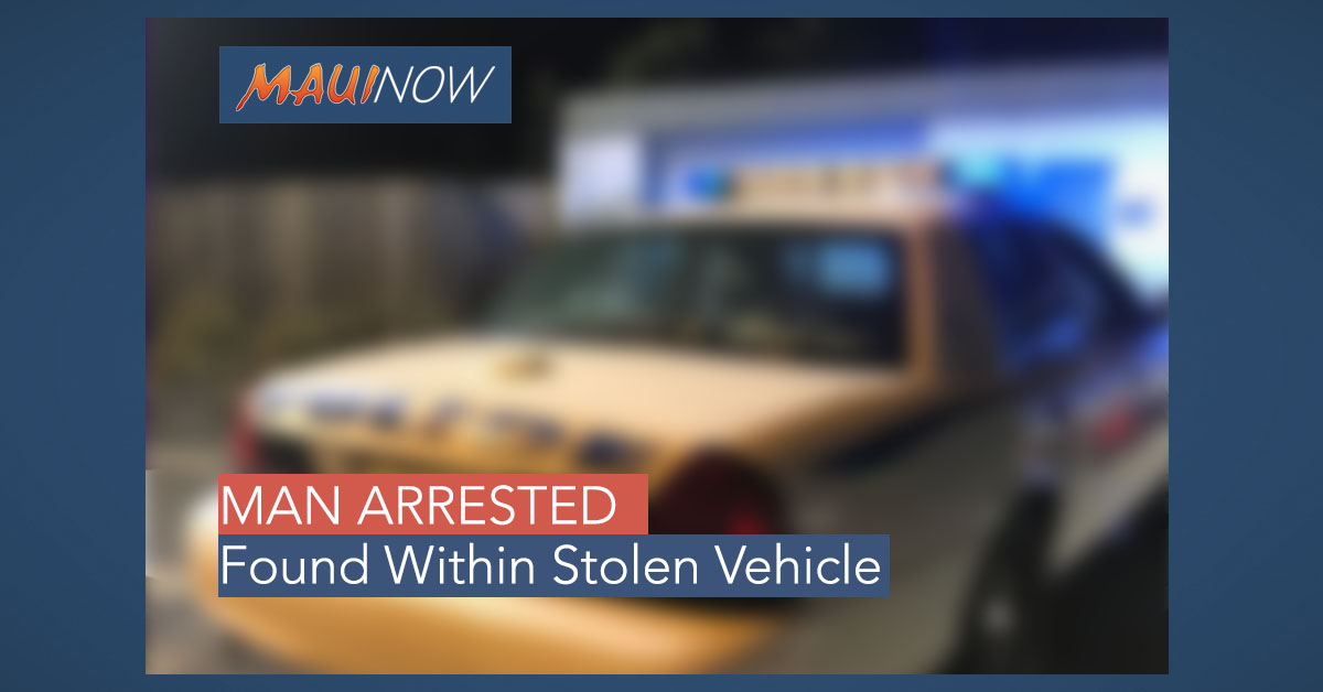 Man Arrested, Found Within Stolen Vehicle