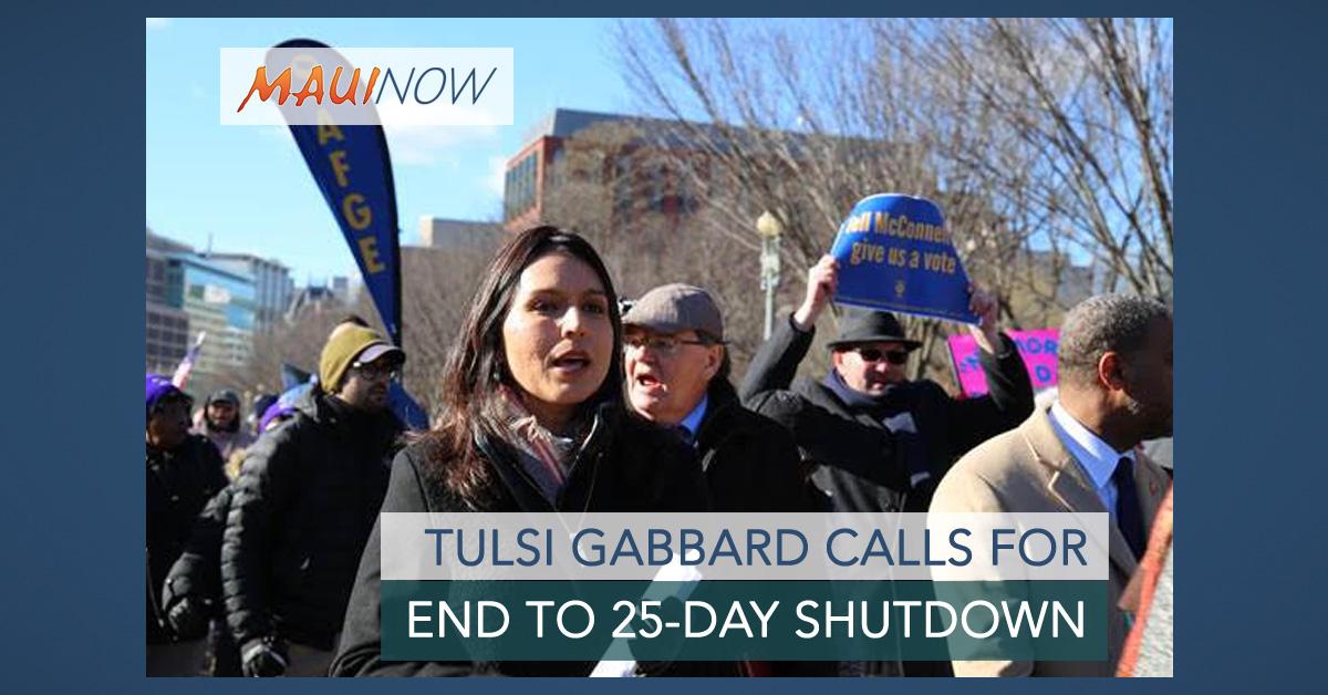 Rep. Tulsi Gabbard Calls for End to Government Shutdown