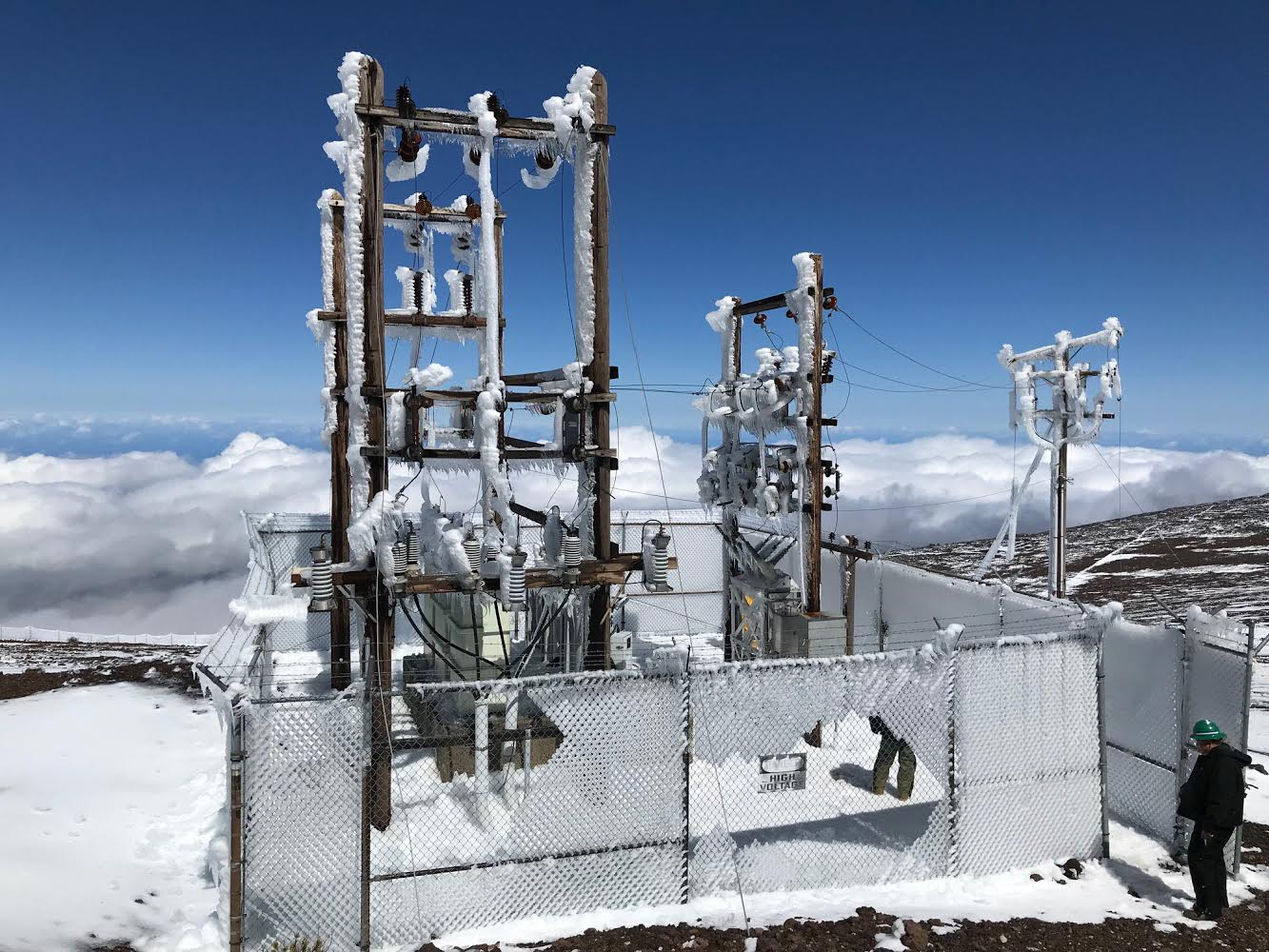 Snow, Ice Damaged Electrical Equipment Fixed Atop Haleakalā