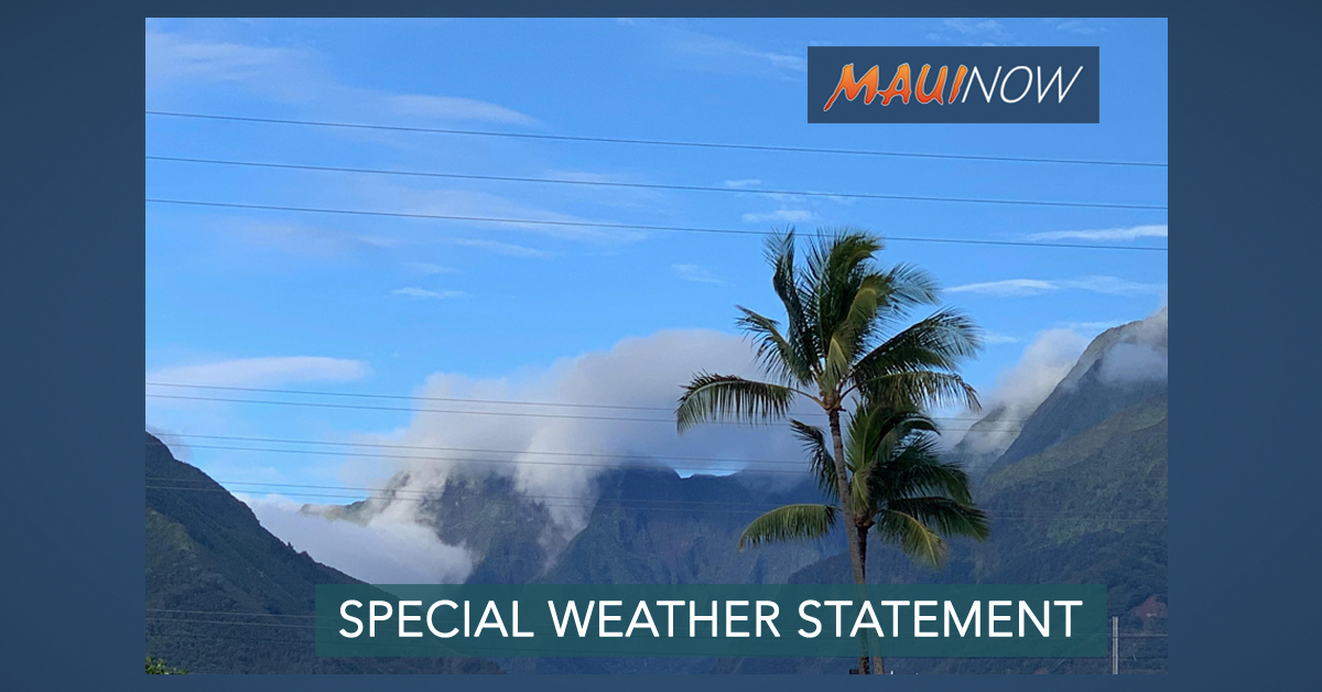 Line of Showers to Produce Strong Wind Gusts Across Moloka'i