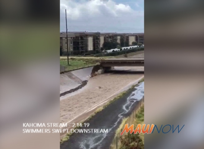 VIDEO: Swimmers Swept Down Kahoma Stream, Exit Waterway