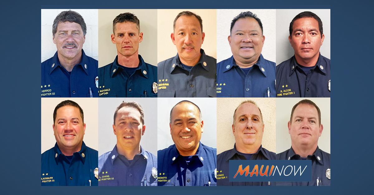 Maui Fire Department Announces 10 Promotions