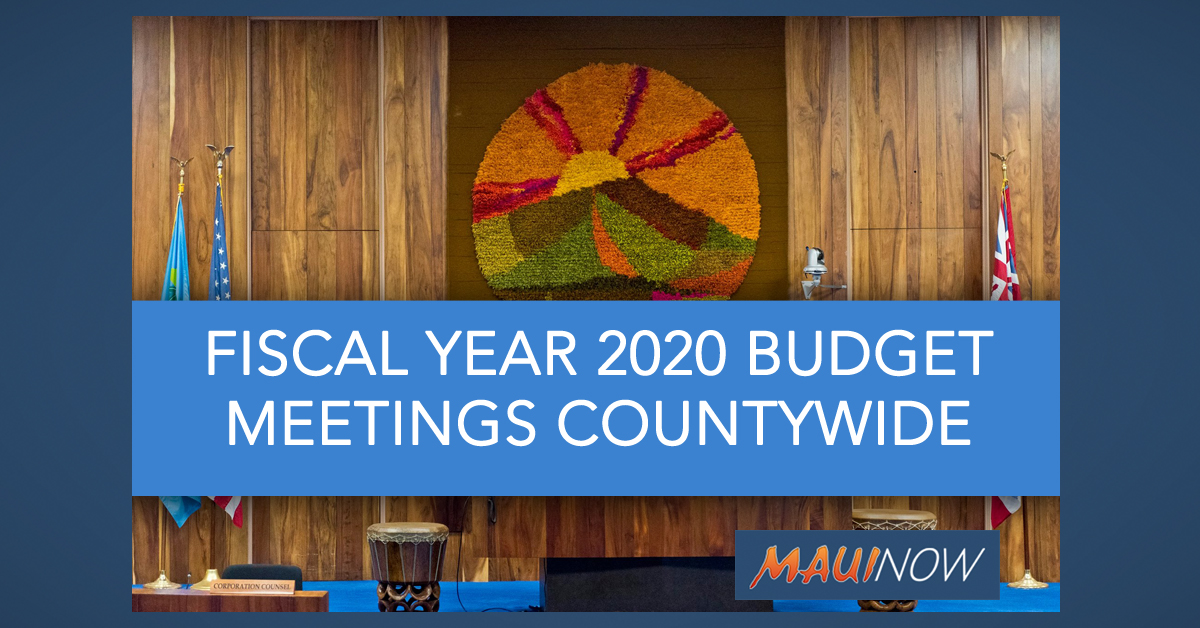 Budget Meetings for FY2020 Begin April 1