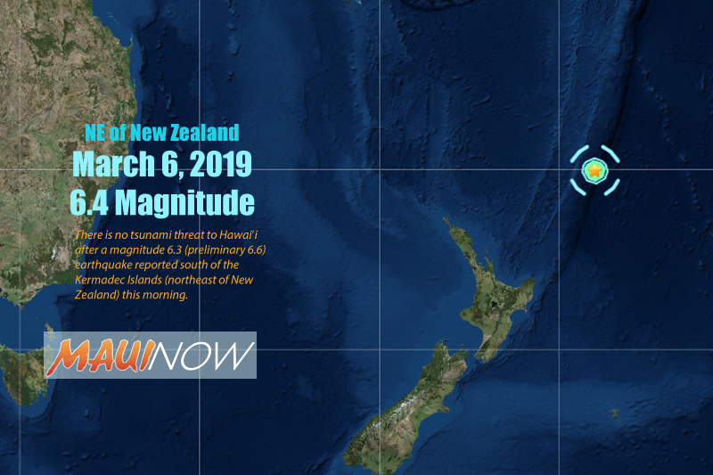 No Tsunami After 6.3 Quake in Kermadec Islands