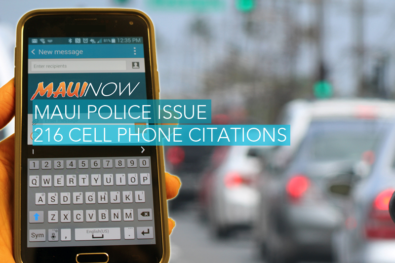 Maui Police Issue 216 Cell Phone Citations