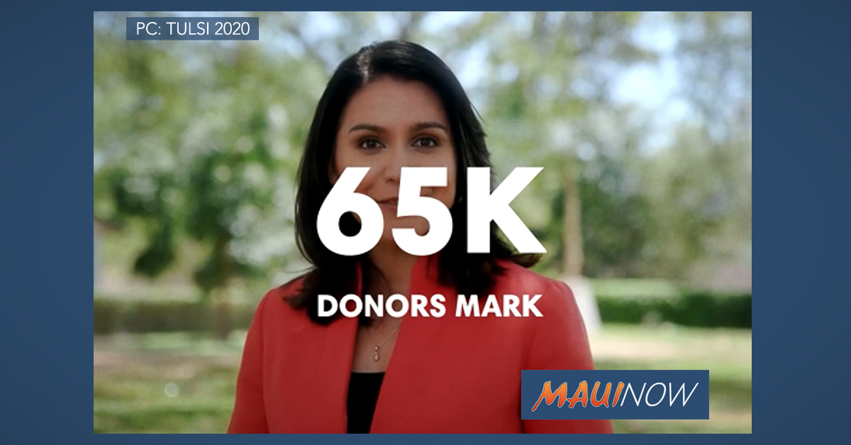 Gabbard Attains 65K Unique Donors, Threshold to Join Debates