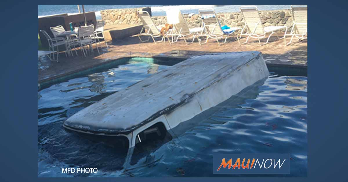Van Crashes, Submerged in Lahaina Swimming Pool