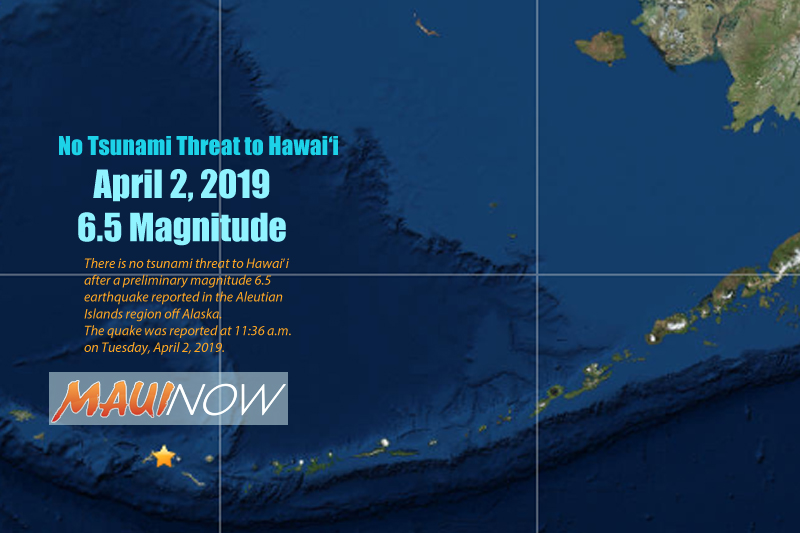 No Tsunami Threat to Hawai'i After 6.5 Aleutian Islands Quake