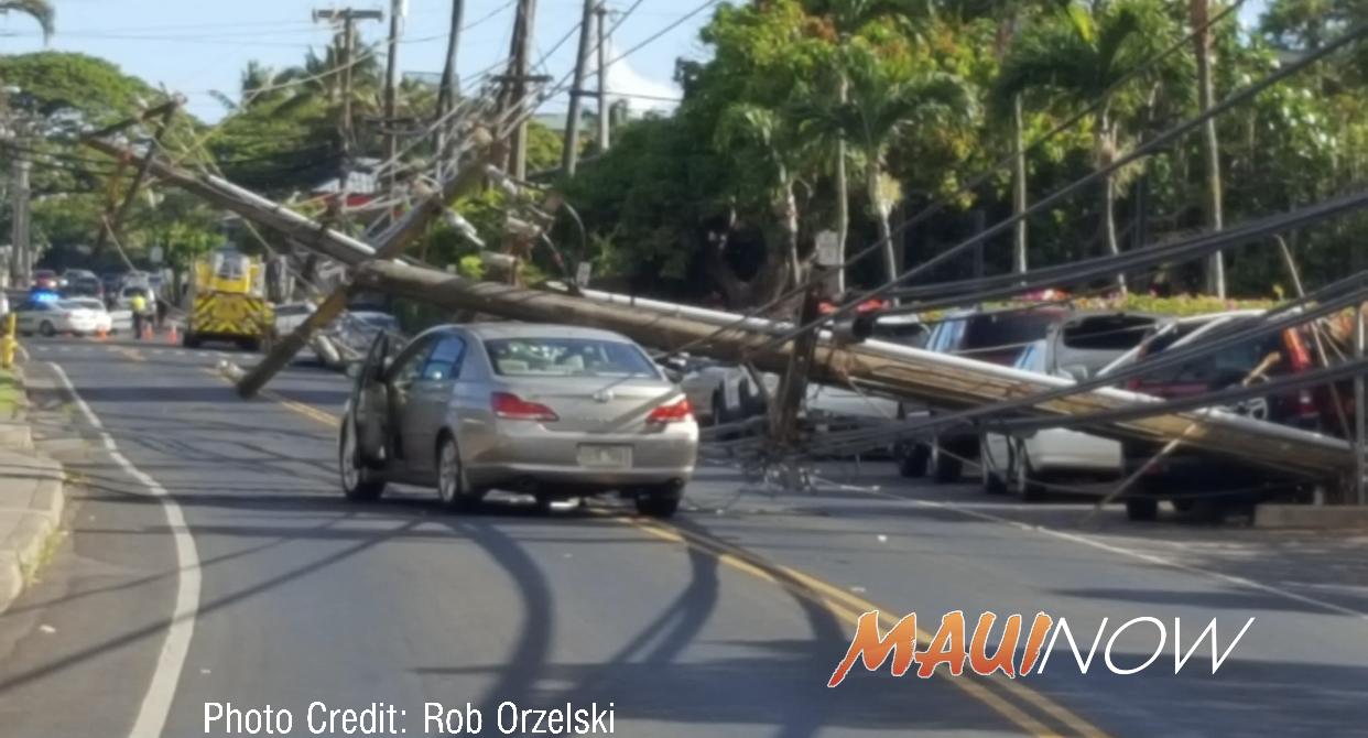 Vehicle Accident Knocks Down Power Poles in Honokōwai, Maui