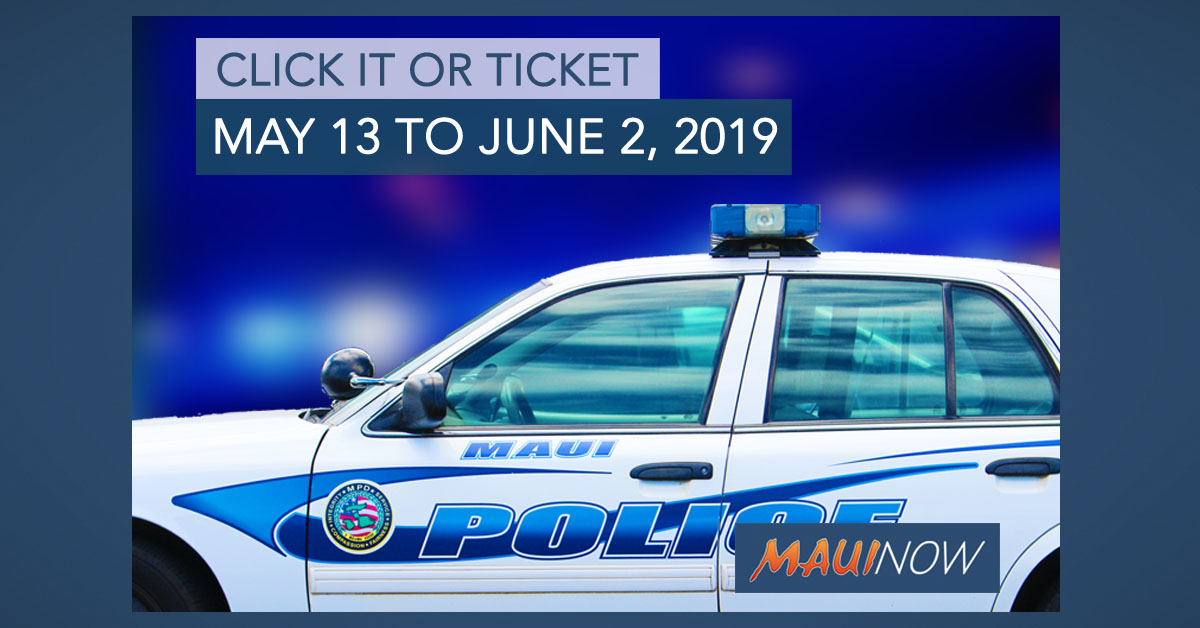Maui Police Seat Belt Enforcement, May 13 to June 2