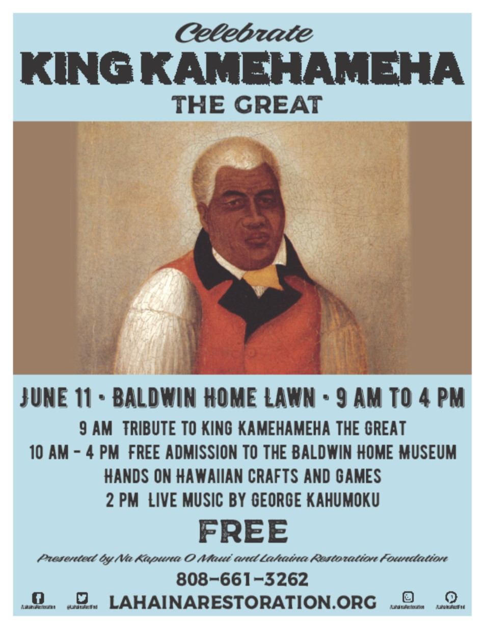 Free Kamehameha Day Celebration, June 11