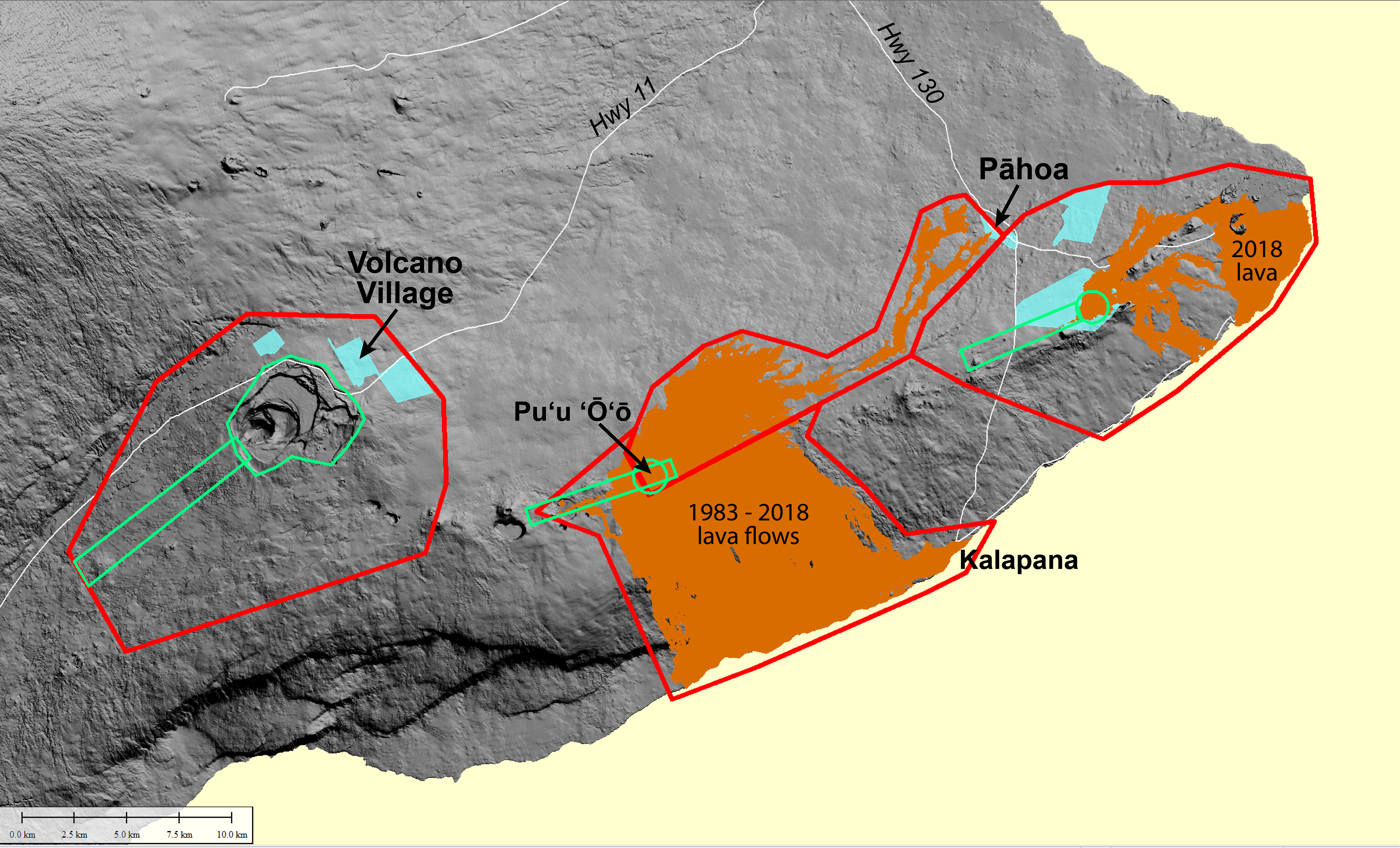 areas on kīlauea that will be covered by a helicopter lidar survey in june  2019  red lines enclose areas over which the survey helicopter will fly at  1,300