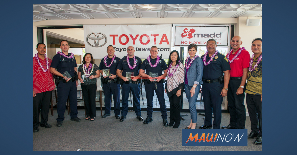 Maui Law Enforcement Honored by Toyota Hawai'i and MADD