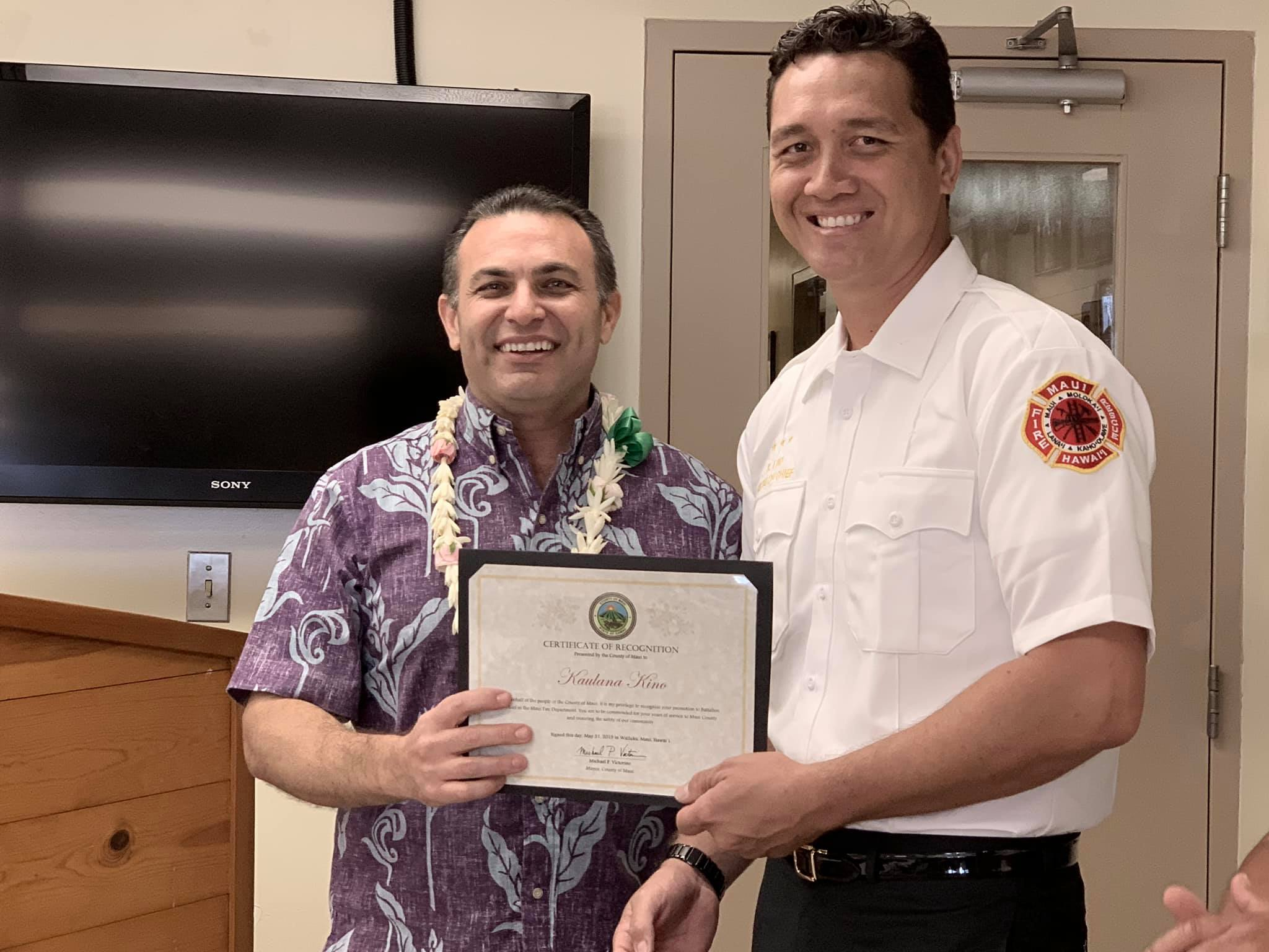 Maui Fire Dept Promotes Kino to Battalion Chief