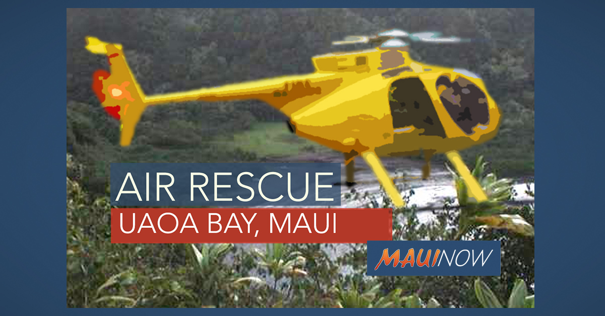 Teen Airlifted from Steep Ledge at Uaoa Bay, Maui
