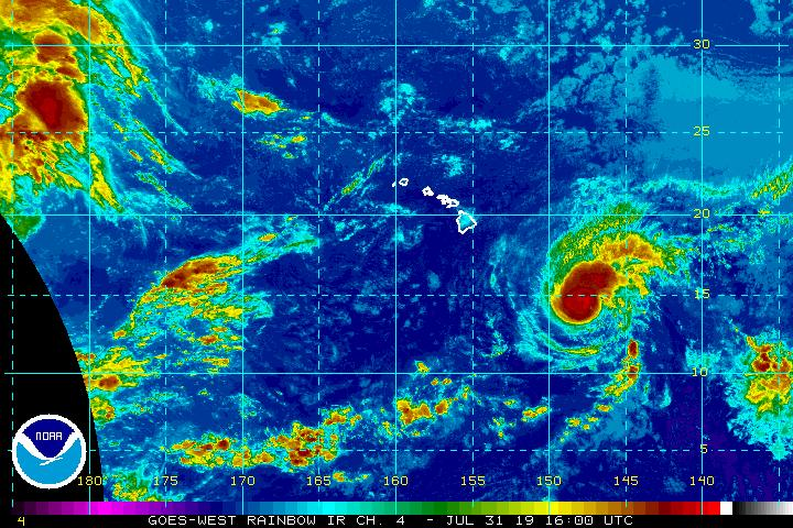 Hurricane Erick Approaches Hawai'i with Rain, Surf; Flossie on Heels