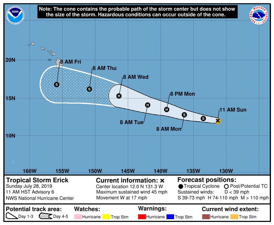 Erick to Become Hurricane by Late Monday or Tuesday
