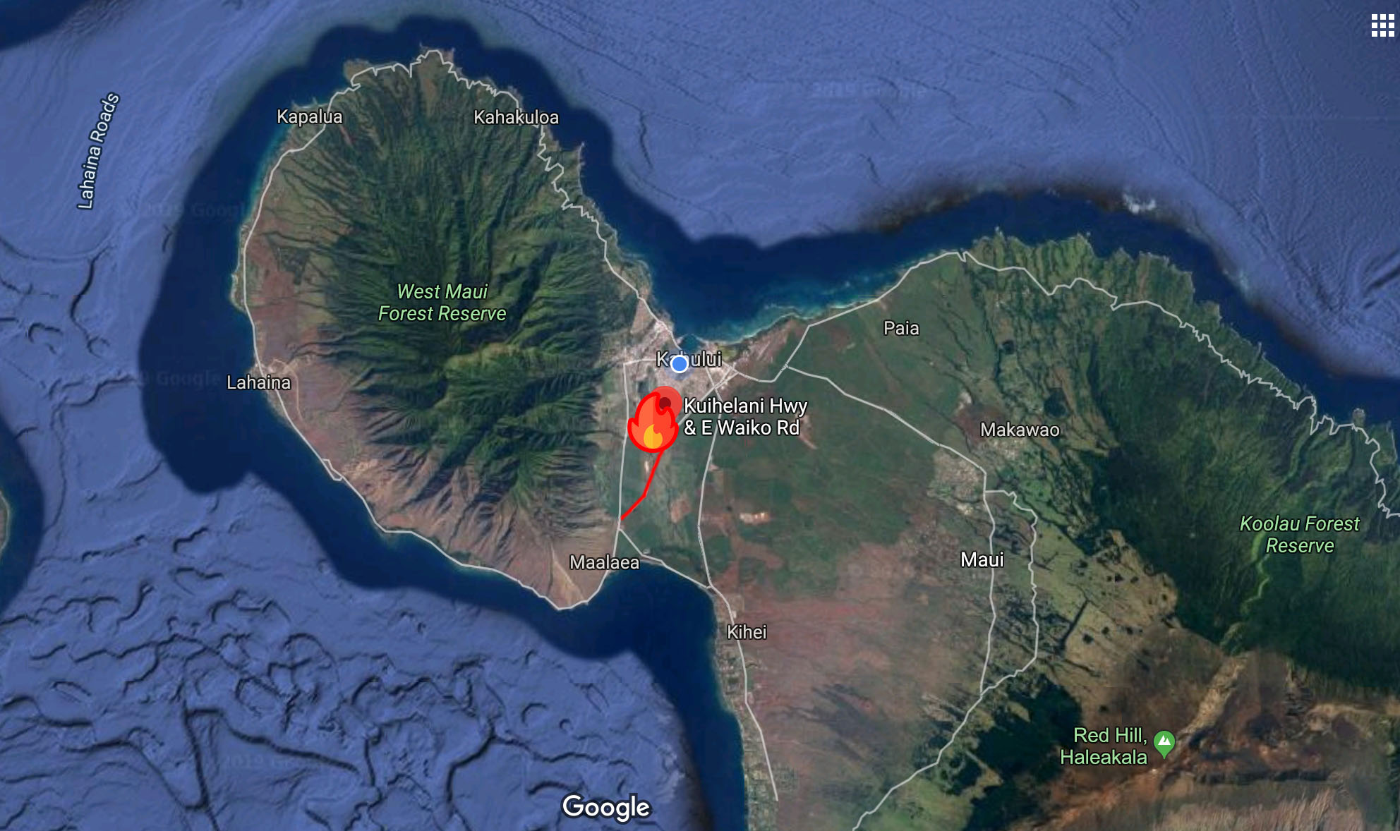 Fire rages on Maui